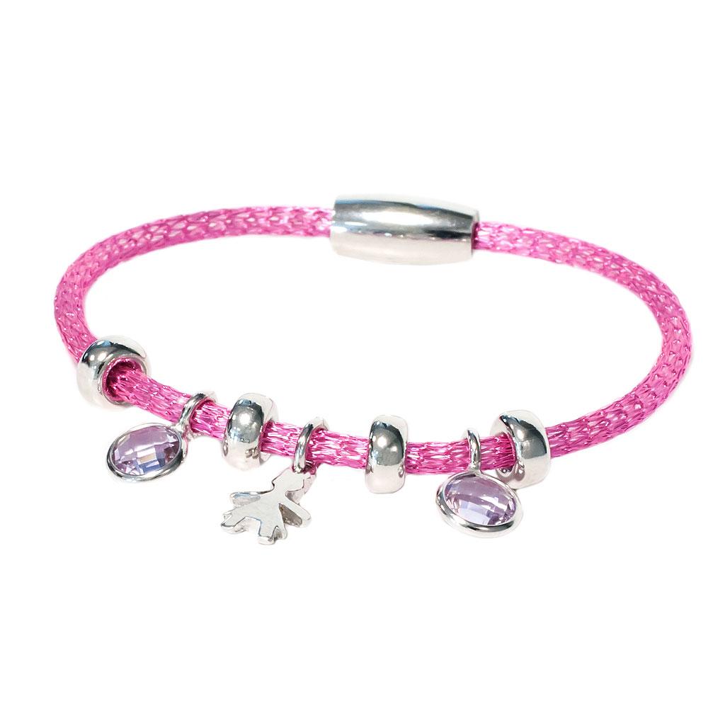 Roze armband met kristallen