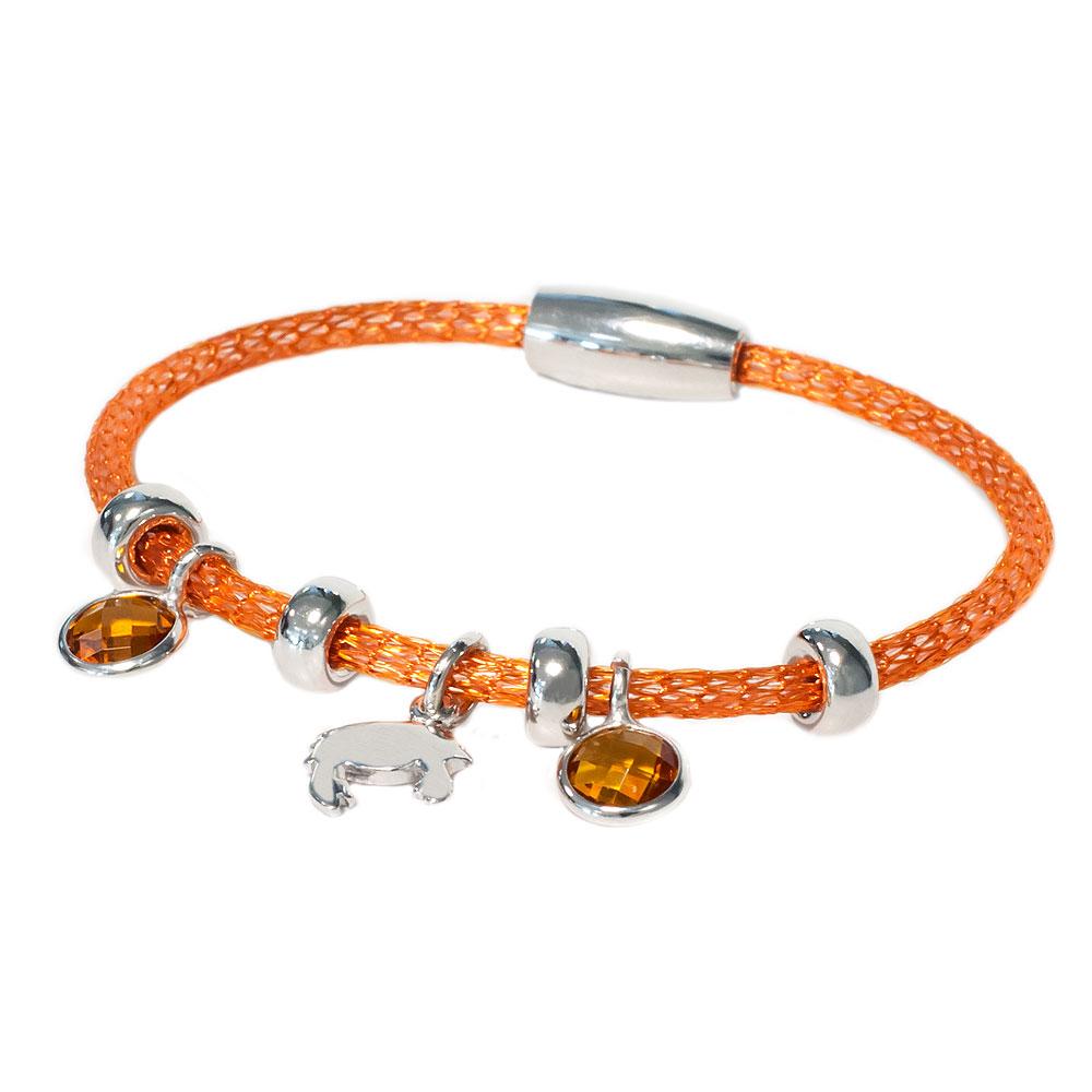 Oranje armband met kristallen