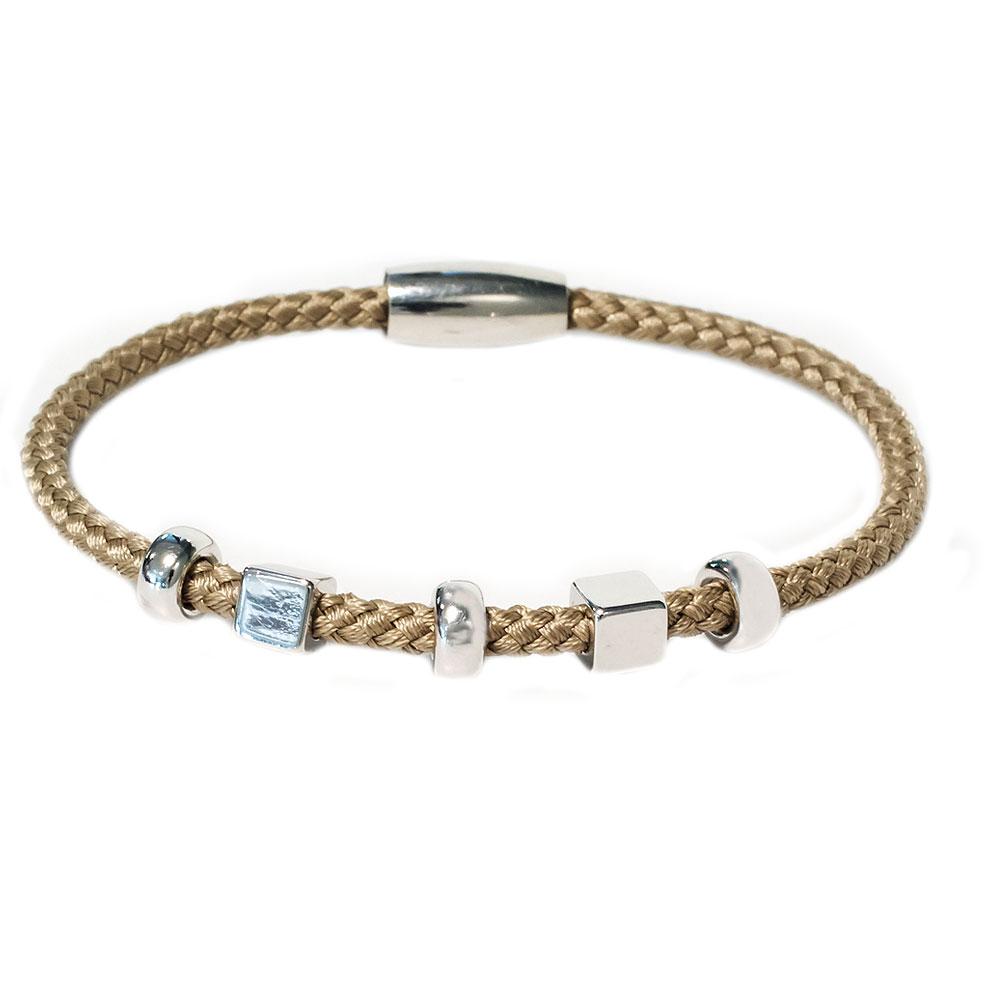 Zilveren zandige armband