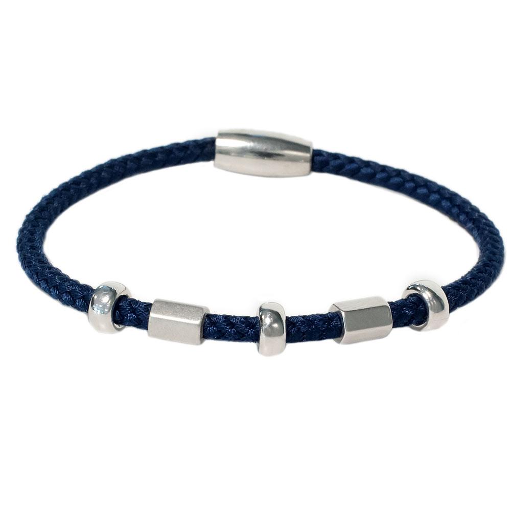 Marineblauwe zilveren armband