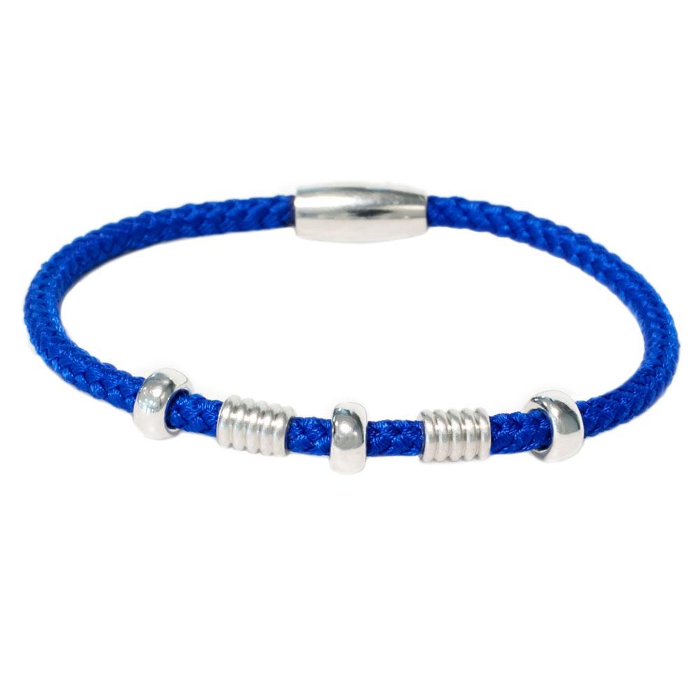Blauw zilveren armband