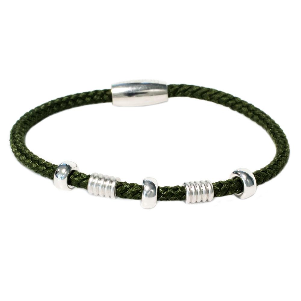 Zilveren miltair groene armband