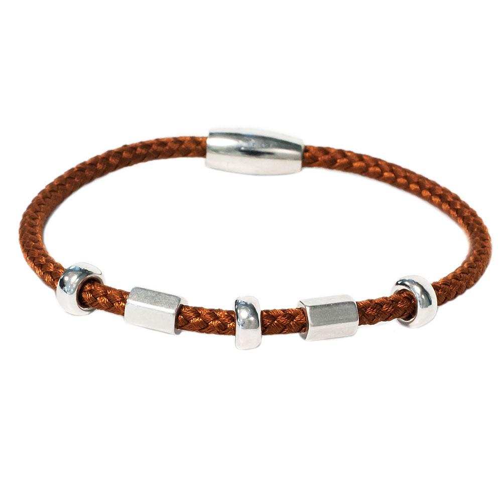 Lederen zilveren armband