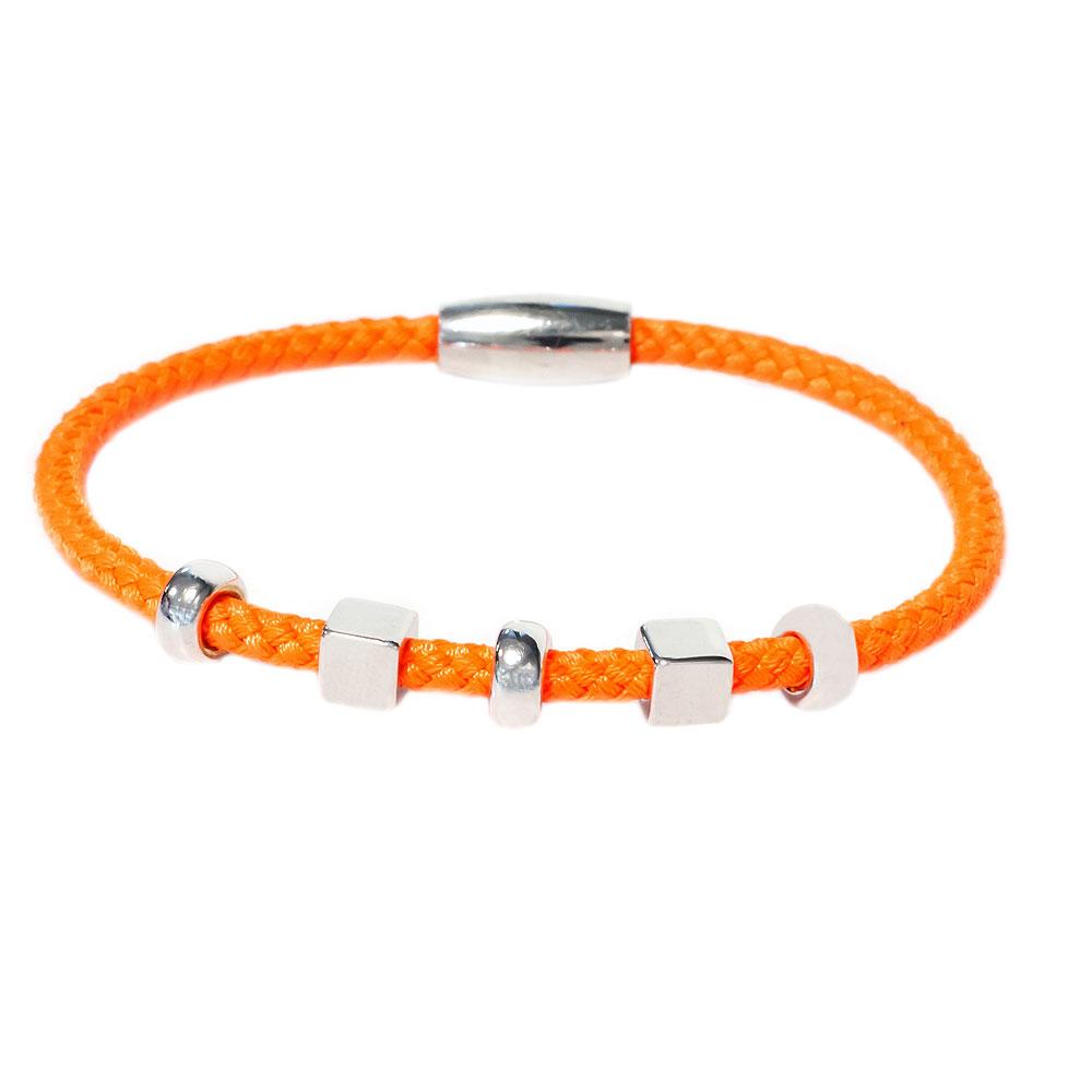 Zilveren oranje armband